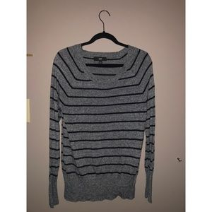 Gray sweater with black stripes